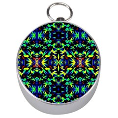 Cool Green Blue Yellow Design Silver Compasses by Costasonlineshop