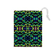 Cool Green Blue Yellow Design Drawstring Pouches (medium)  by Costasonlineshop
