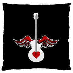 Flying Heart Guitar Standard Flano Cushion Case (two Sides) by waywardmuse