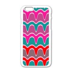 Waves Pattern			apple Iphone 6/6s White Enamel Case by LalyLauraFLM
