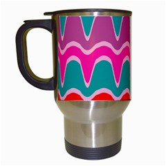 Waves Pattern Travel Mug (white) by LalyLauraFLM
