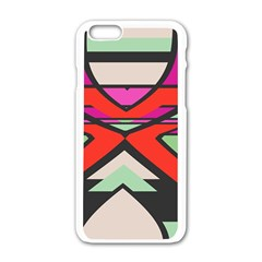 Shapes In Retro Colors			apple Iphone 6/6s White Enamel Case by LalyLauraFLM