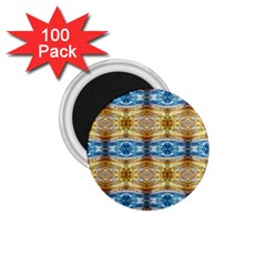 Gold And Blue Elegant Pattern 1 75  Magnets (100 Pack)  by Costasonlineshop