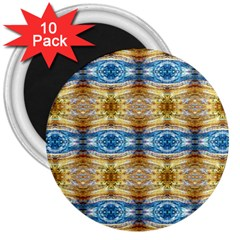 Gold And Blue Elegant Pattern 3  Magnets (10 Pack)  by Costasonlineshop