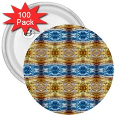 Gold And Blue Elegant Pattern 3  Buttons (100 Pack)  by Costasonlineshop