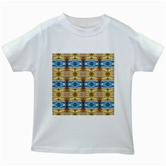 Gold And Blue Elegant Pattern Kids White T-shirts by Costasonlineshop