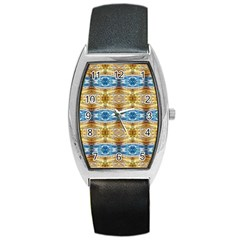 Gold And Blue Elegant Pattern Barrel Metal Watches by Costasonlineshop