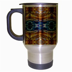 Gold And Blue Elegant Pattern Travel Mug (silver Gray) by Costasonlineshop