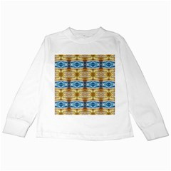 Gold And Blue Elegant Pattern Kids Long Sleeve T Shirts by Costasonlineshop