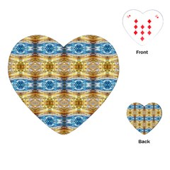Gold And Blue Elegant Pattern Playing Cards (heart)  by Costasonlineshop