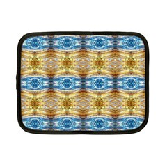Gold And Blue Elegant Pattern Netbook Case (small)  by Costasonlineshop