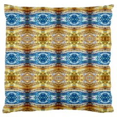 Gold And Blue Elegant Pattern Large Cushion Cases (one Side)  by Costasonlineshop
