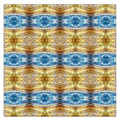 Gold And Blue Elegant Pattern Large Satin Scarf (square)