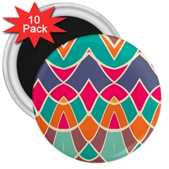 Wavy Design			3  Magnet (10 Pack)