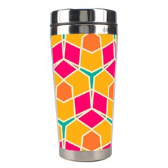 Shapes In Retro Colors Pattern Stainless Steel Travel Tumbler by LalyLauraFLM