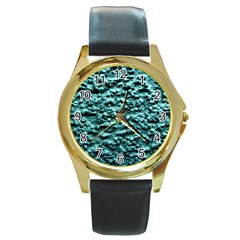 Blue Green  Wall Background Round Gold Metal Watches by Costasonlineshop