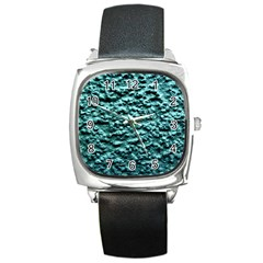 Blue Green  Wall Background Square Metal Watches by Costasonlineshop