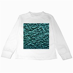 Blue Green  Wall Background Kids Long Sleeve T Shirts by Costasonlineshop