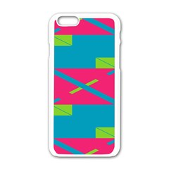 Rectangles And Diagonal Stripes			apple Iphone 6/6s White Enamel Case by LalyLauraFLM