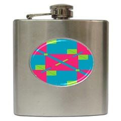 Rectangles And Diagonal Stripes			hip Flask (6 Oz) by LalyLauraFLM