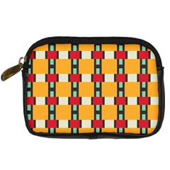 Rectangles And Squares Pattern 	digital Camera Leather Case by LalyLauraFLM