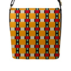 Rectangles And Squares Pattern			flap Closure Messenger Bag (l) by LalyLauraFLM