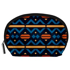 Rhombus  Circles And Waves Pattern Accessory Pouch by LalyLauraFLM
