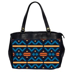 Rhombus  Circles And Waves Pattern Oversize Office Handbag (2 Sides) by LalyLauraFLM