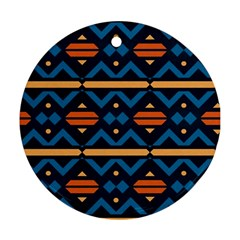 Rhombus  Circles And Waves Pattern			ornament (round) by LalyLauraFLM