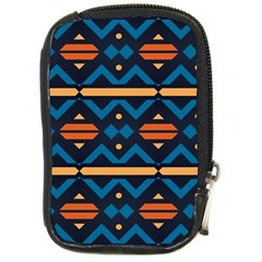 Rhombus  Circles And Waves Pattern			compact Camera Leather Case by LalyLauraFLM