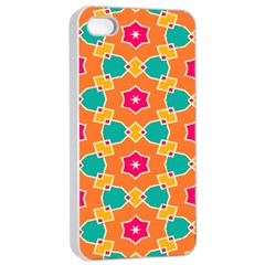 Pink Flowers Pattern			apple Iphone 4/4s Seamless Case (white) by LalyLauraFLM