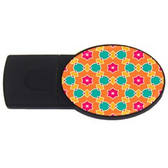 Pink Flowers Pattern			usb Flash Drive Oval (2 Gb) by LalyLauraFLM