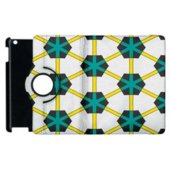 Blue Stars And Honeycomb Pattern			apple Ipad 2 Flip 360 Case by LalyLauraFLM