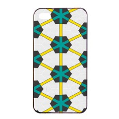 Blue Stars And Honeycomb Pattern			apple Iphone 4/4s Seamless Case (black) by LalyLauraFLM