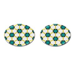 Blue Stars And Honeycomb Pattern			cufflinks (oval) by LalyLauraFLM