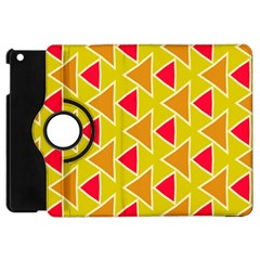 Red Brown Triangles Pattern			apple Ipad Mini Flip 360 Case by LalyLauraFLM