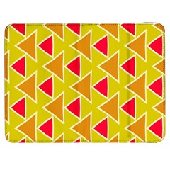 Red Brown Triangles Pattern			samsung Galaxy Tab 7  P1000 Flip Case by LalyLauraFLM