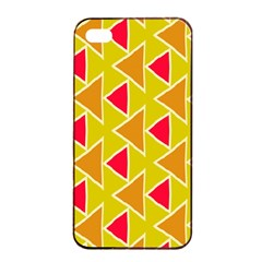 Red Brown Triangles Pattern			apple Iphone 4/4s Seamless Case (black) by LalyLauraFLM