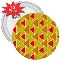 Red Brown Triangles Pattern			3  Button (10 Pack) by LalyLauraFLM