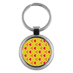 Red Brown Triangles Pattern			key Chain (round) by LalyLauraFLM