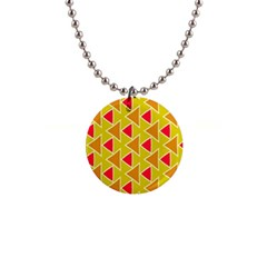 Red Brown Triangles Pattern			1  Button Necklace by LalyLauraFLM