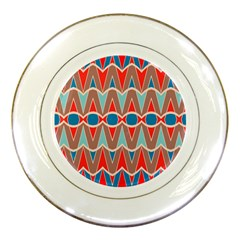 Rhombus And Ovals Chains			porcelain Plate by LalyLauraFLM