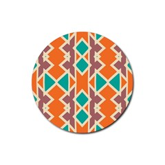 Rhombus Triangles And Other Shapes			rubber Coaster (round) by LalyLauraFLM