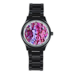 Purple Tree Bark Stainless Steel Round Watches by timelessartoncanvas
