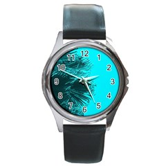 Modern Palm Leaves Round Metal Watches