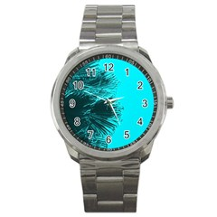 Modern Palm Leaves Sport Metal Watches by timelessartoncanvas