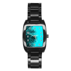 Modern Palm Leaves Stainless Steel Barrel Watch by timelessartoncanvas