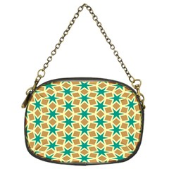 Stars And Squares Pattern 	chain Purse (two Sides) by LalyLauraFLM