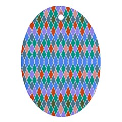 Pastel Rhombus Pattern			ornament (oval) by LalyLauraFLM