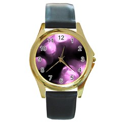 Purple Circles No  2 Round Gold Metal Watches by timelessartoncanvas